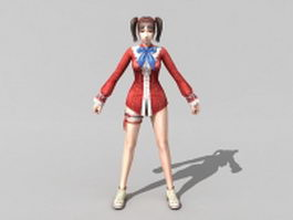 Anime girl fighter rigged 3d model