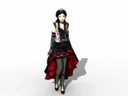 Beautiful Gothic girl 3d model