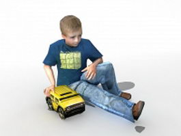 Boy playing toy 3d model
