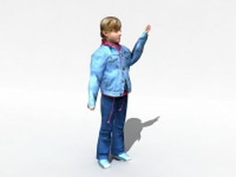 Teenage girl waving 3d model