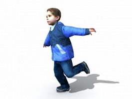 Little boy running 3d model