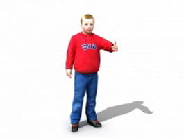 Boy with thumbs up 3d model