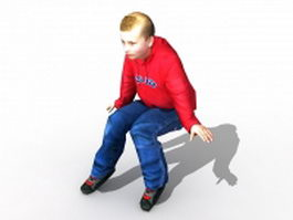 White teenage boy sitting 3d model