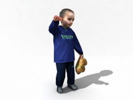 Cute toddler boy 3d model