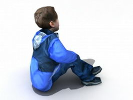 Boy sitting on floor 3d model