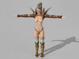 Female battle mage 3d model