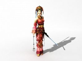 Chinese female swordsman character 3d model