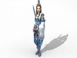 Female sword fighter 3d model
