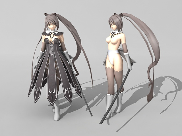 anime girl with sword 3d model 3ds max object files free download