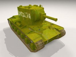 Russian KV-2 heavy artillery tank 3d model