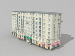 Old apartment building in Moscow 3d model