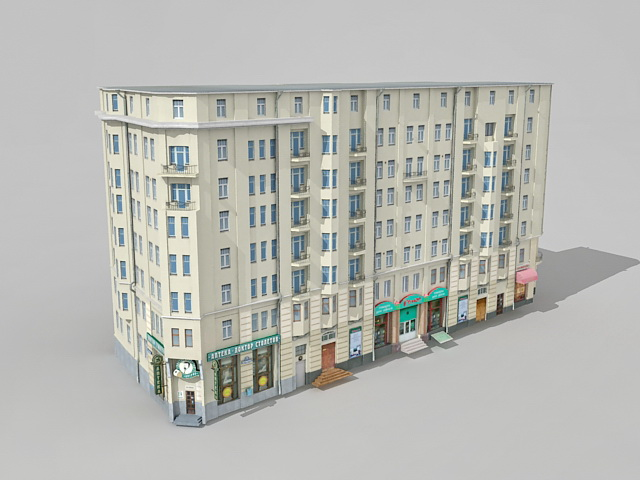 old apartment building in moscow 3d model 3ds max files