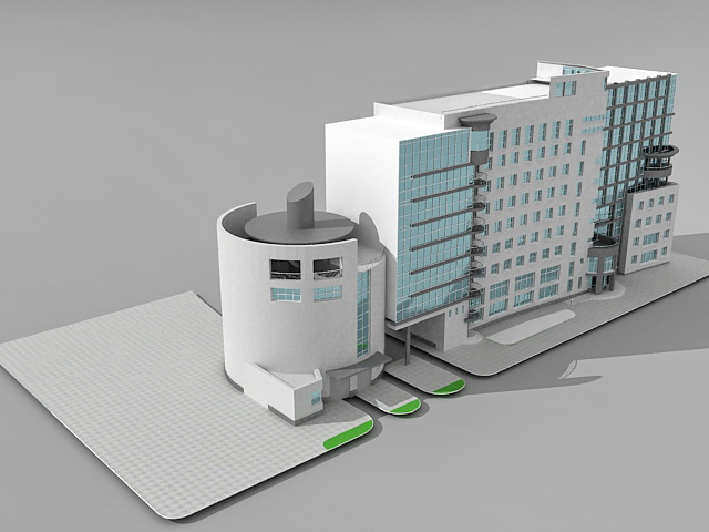 Office building design 3d model 3ds max files free for Free online building design