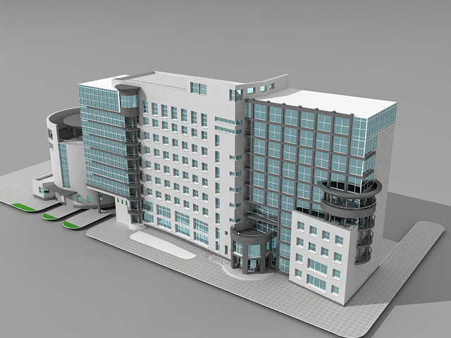 Office building design 3d model 3ds max files free for Build house online 3d free