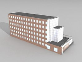 University library architecture 3d model