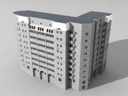 L-shape office complex 3d model