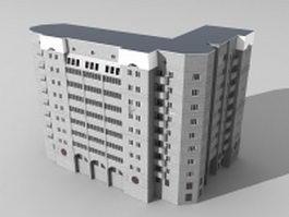 L-shape office complex 3d model