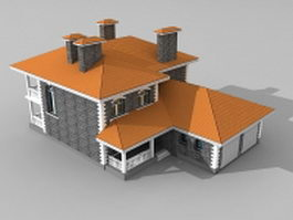 Dwelling house with garage 3d model