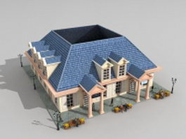 Victorian houses on street 3d model