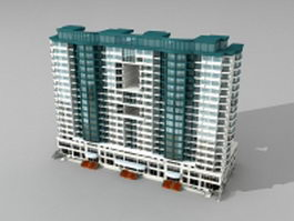 Retail apartment complex architecture 3d model