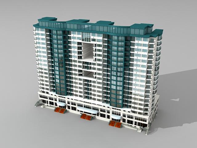 Retail apartment complex architecture 3d model 3ds max for Apartment model house