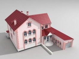 Pink country house 3d model