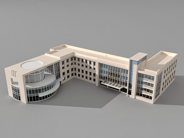 University college education building 3d model 3ds max for Build house online 3d free