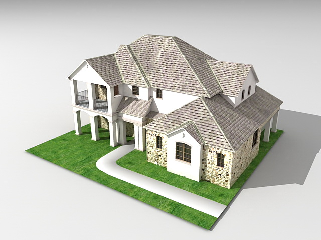 Wonderful 3d House Modeling Part - 3: Average American House 3D Model