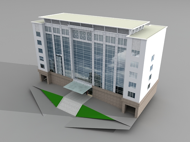 Corporate office building 3d model 3ds max files free for Build house online 3d free