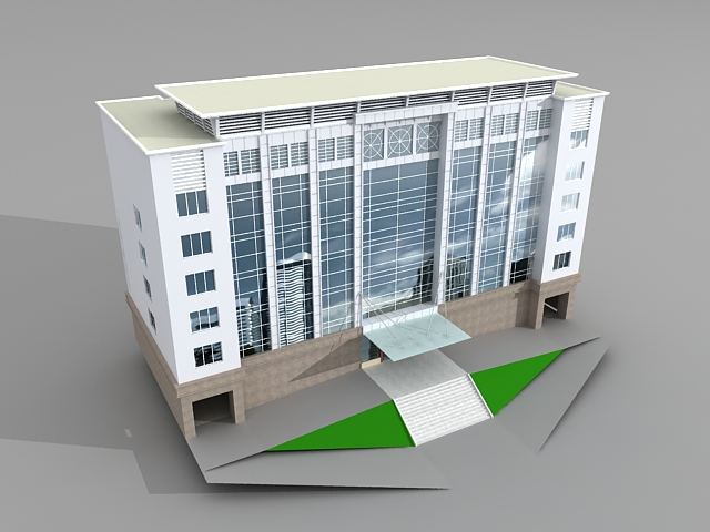 Corporate office building 3d model 3ds max files free for Office design 3d max