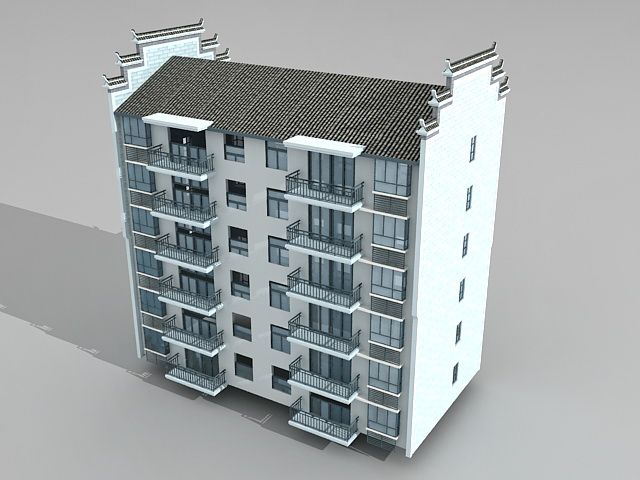 chinese style apartment block 3d model 3ds max files free