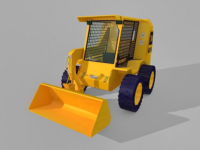 JCB front-end loader 3d rendering