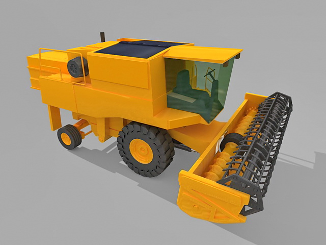 Yellow combine harvester 3d rendering