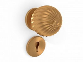 Brass door knob set 3d model