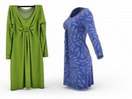 Retro Maxi dress 3d model