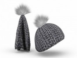 Wool knit hat 3d model