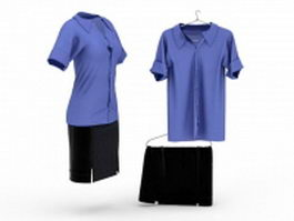 Shirt and pencil skirt outfits 3d model