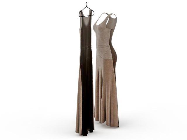 Long formal dress 3d model