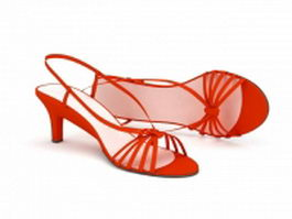 Spike heel red sandals 3d model