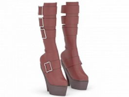 Red high heel boots 3d model