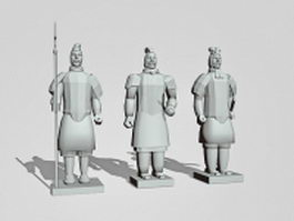 Terracotta warrior statues 3d model