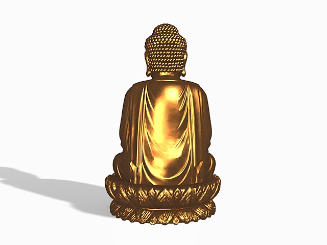 Bronze buddha statue 3d rendering