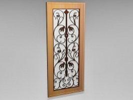 Wood door with wrought iron insert 3d model