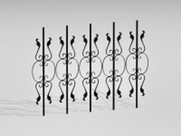 Ornamental wrought iron fence parts 3d model