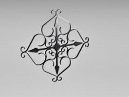 Wrought iron railing parts 3d model
