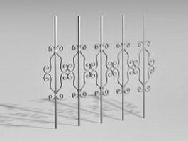 Metal fence components 3d model