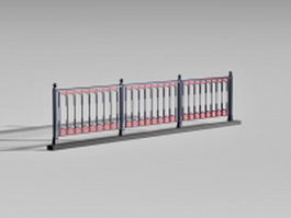 Vintage pedestrian guardrail 3d model