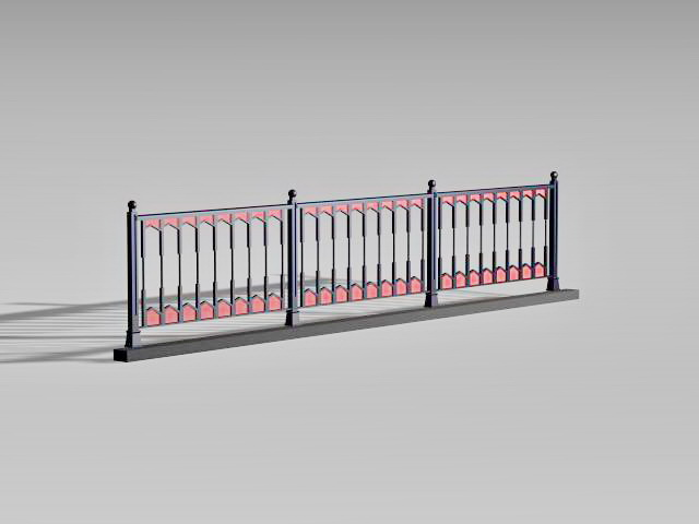 Vintage Pedestrian Guardrail 3d Model 3d Studio 3ds Max