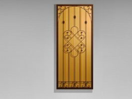 Ornamental wrought iron door insert 3d model