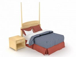 Wood bed with night stand 3d model